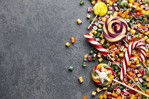 Lollipops and candies mix