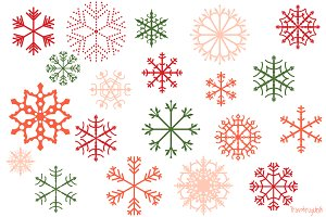 Red and green snowflakes clipart set