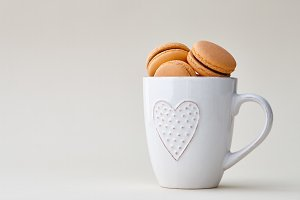 French macarons in a cup