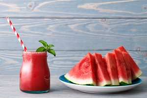 Water melon smoothie with fruit pieces