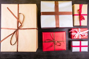 Set of Christmas gifts on a table