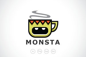 Monster Mug Logo Template