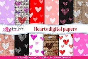 Hearts digital paper