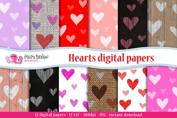 Hearts digital paper