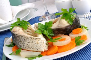 Boiled fish with vegetables