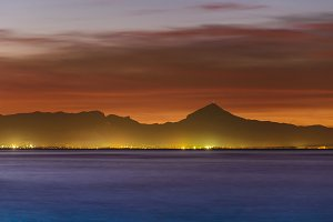 Denia sunset view from port