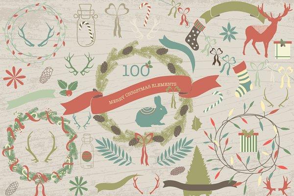 100 Merry christmas elements