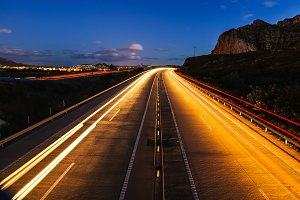 Empty freeway at night with long exposure