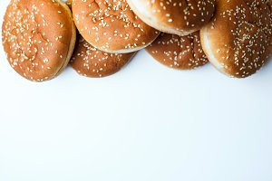 The burger buns on white background