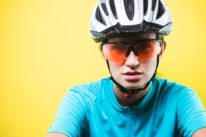 Close-up portrait of female cyclist