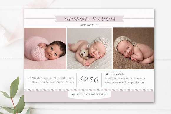Newborn photographer marketing board flyer templates creative market