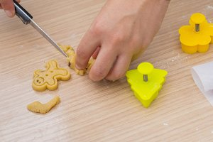 Making christmas cookies.