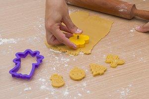 Making christmas cookies.
