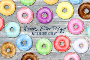 Donuts Plain Crazy Watercolor
