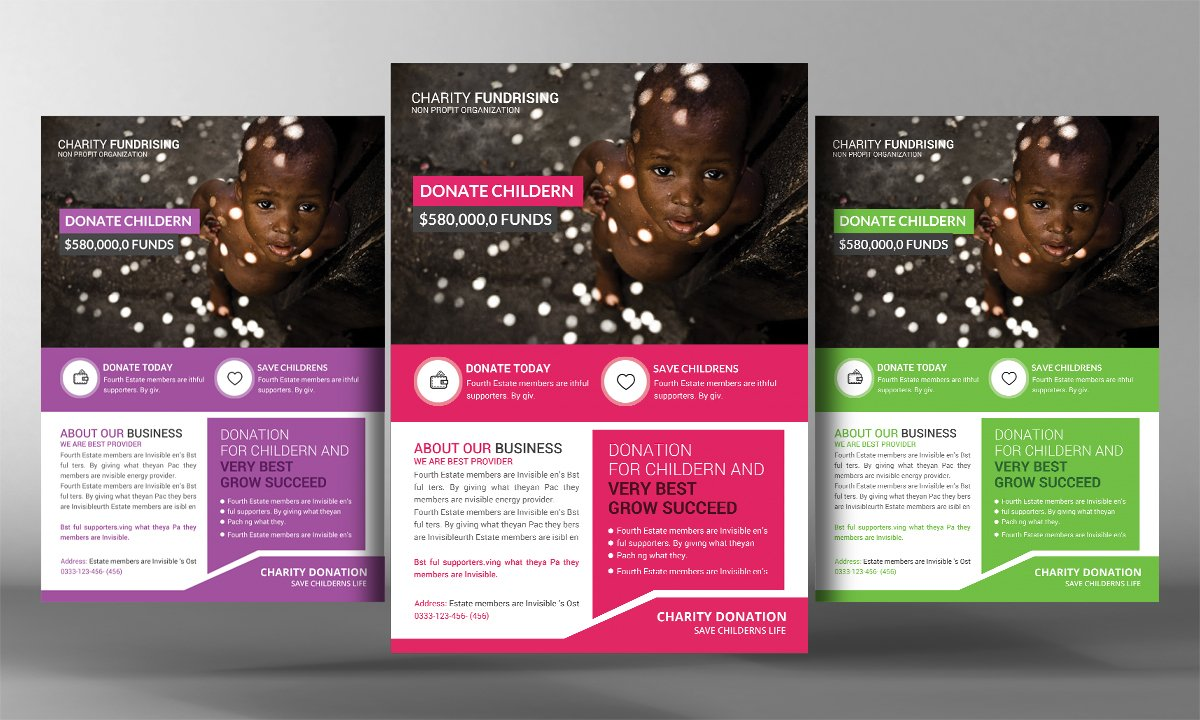 charity donation flyer template flyer templates creative market. Black Bedroom Furniture Sets. Home Design Ideas