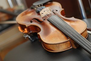 Wood violin lying