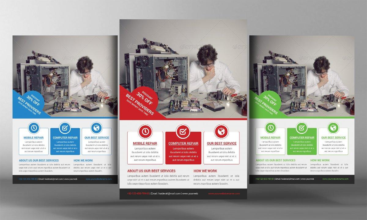 Computer repair flyer Photos Graphics Fonts Themes Templates – Computer Repair Flyer Template