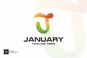 January / Letter J - Logo Template