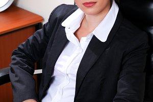 woman in black suit