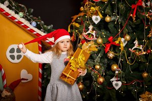 Little Girl and a Christmas gift