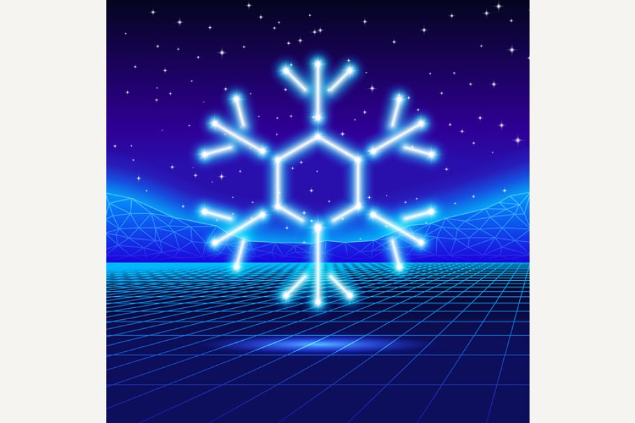 Christmas card with neon snowflake
