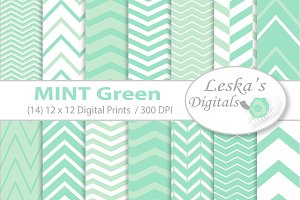 Mint Green Digital Paper Chevrons