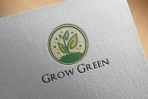 3 Grow Green Shoot Plant Logo Set