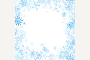 Rectangular frame with snowflakes