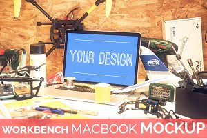 High Res. Workbench Macbook Mockup