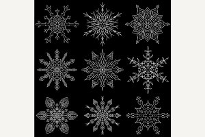 Set of 9 beautiful drawn snowflakes