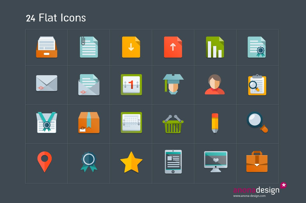 Google themes x2 - 24 Flat Icons Google