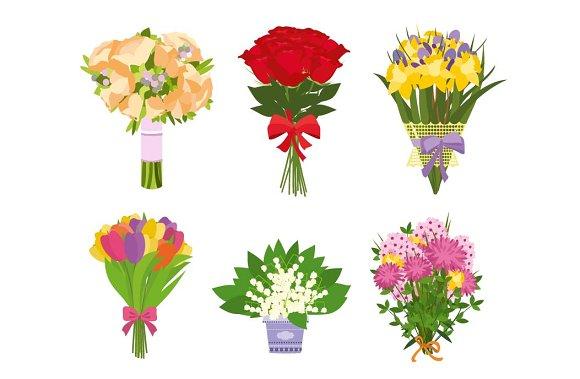 Set of floral bouquets