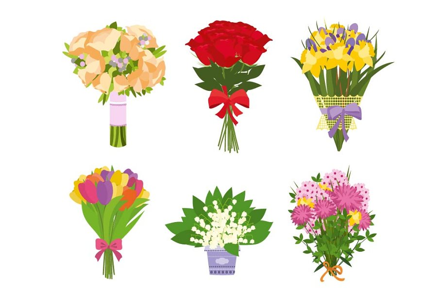Set of floral bouquets in Illustrations - product preview 8