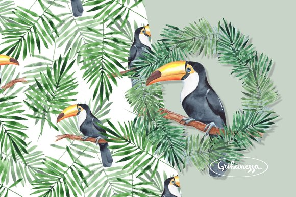 Toucan + Pattern. Watercolor in Illustrations - product preview 1