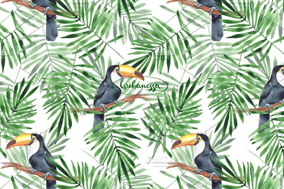 Toucan + Pattern. Watercolor in Illustrations - product preview 2