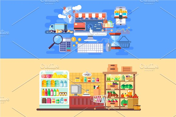 Supermarket and E-commerce Banners in Illustrations
