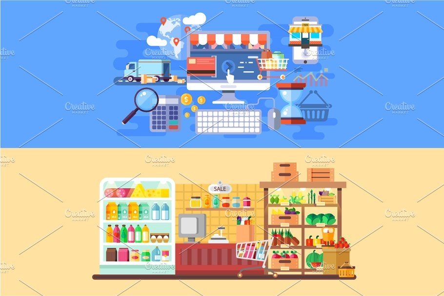 Supermarket and E-commerce Banners in Illustrations - product preview 8
