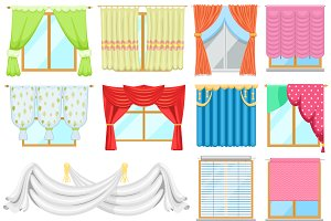 Window curtains vector set