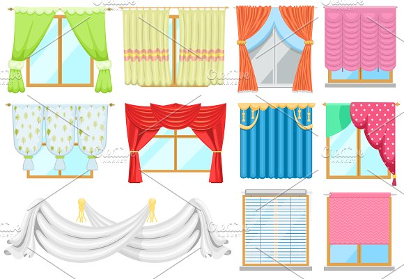 Window curtains vector set in Illustrations