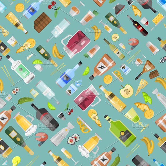 Beverages seamless pattern vector