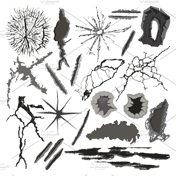 Vector crackle texture set in Illustrations