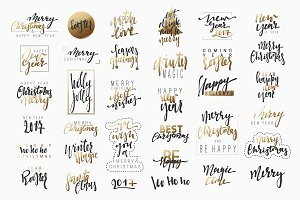 Christmas lettering, New Year text