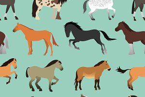 Seamless pattern with horse