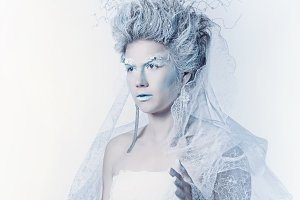 Snow queen with unusual makeup