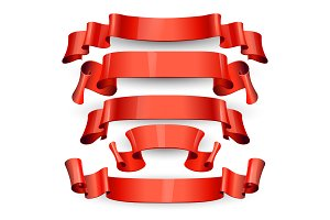 Red glossy vector ribbons