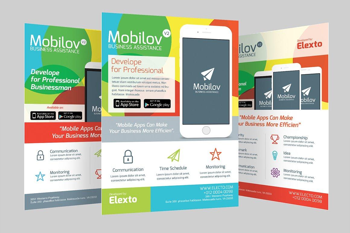 colourful mobile app flyer flyer templates creative market