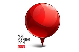 Shiny gloss red Map pointe