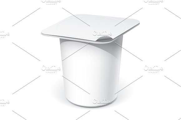 Realistic White Plastic Container