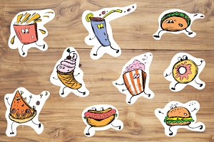 Hand drawn set of funny fast food