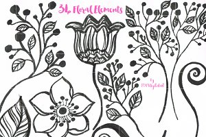 Floral Flower Clip Art Scrapbook